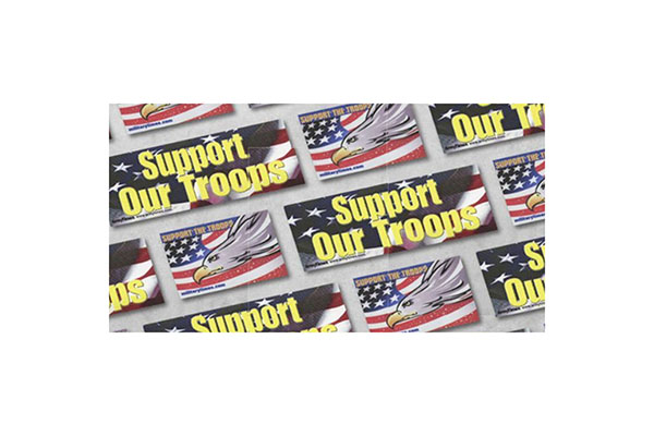 """Free Military Times """"Support the Troops"""" Sticker"""